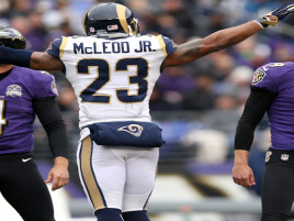BALTIMORE, MD - NOVEMBER 22: Free safety Rodney McLeod #23 of the St. Louis Rams celebrates after kicker Justin Tucker #9 of the Baltimore Ravens misses a first quarter field goal at M&T Bank Stadium on November 22, 2015 in Baltimore, Maryland. (Photo by Patrick Smith/Getty Images)