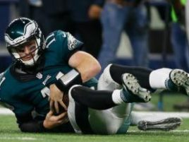 Carson Wentz, sacked in the 4th Quarter